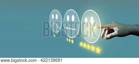 Businessman Giving Rating With Smiley Face Emoticon On Virtual Touch Screen, Customer Satisfaction S