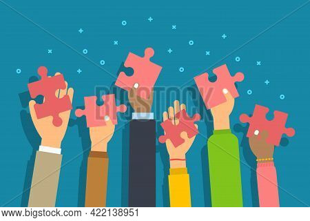 People Raised Arms Holding Jigsaw Puzzle Pieces. People Give Puzzle Piece In Palm Hand. Concept Of C