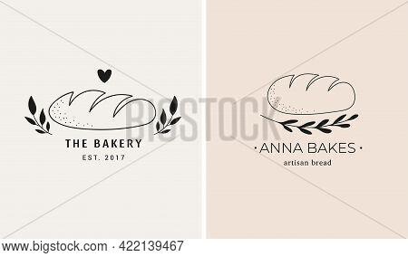 Bakery, Bakehouse Hand Drawn Logo Set, Illustration Of Bread, Trendy Style Icons