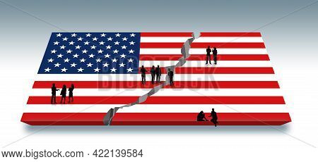People Are Engaged In Discussions As They Stand On A Usa Flag That Has Been Split Down The Middle By