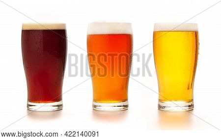 Different Types Of Craft Fresh Drink. Assortment Of Beer In Tall Glasses