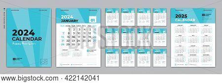 Set Desk Calendar 2024 Design, Calendar 2024 Template And Set Of 12 Months, Calendar 2025 Design Pos