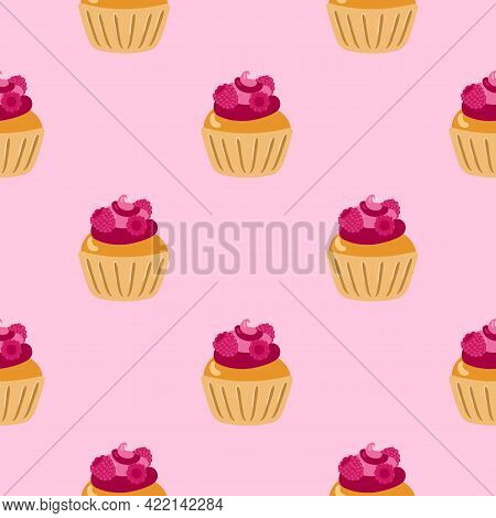 Cupcakes Seamless Pattern. Packaging. Festive Cupcakes With Cream And Berries. Vector Pattern On A C