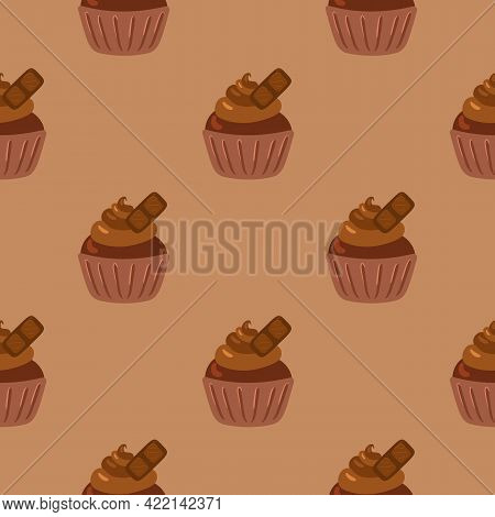 Cupcakes Seamless Pattern. Packaging. Celebratory Cupcakes With Cream And Chocolate. Vector Pattern