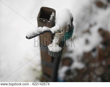 Frozen Outdoor Water Tap, Shallow Depth Of Field