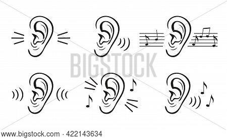 Hearing Ear Icon Set. Sound Perception. Human Hear Loud Noise Or Music. Level Volume Control. Loss L