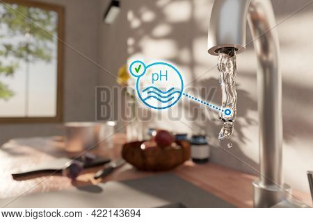 Optimal Drinking Water Ph Concept With Drinking Water Falling From Kitchen Tap. Drinking Water And S