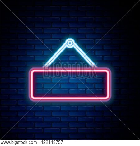 Glowing Neon Line Signboard Hanging Icon Isolated On Brick Wall Background. Suitable For Advertiseme