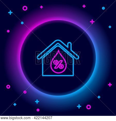 Glowing Neon Line House Humidity Icon Isolated On Black Background. Weather And Meteorology, Thermom