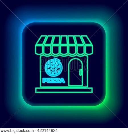 Glowing Neon Line Pizzeria Building Facade Icon Isolated On Black Background. Fast Food Pizzeria Kio
