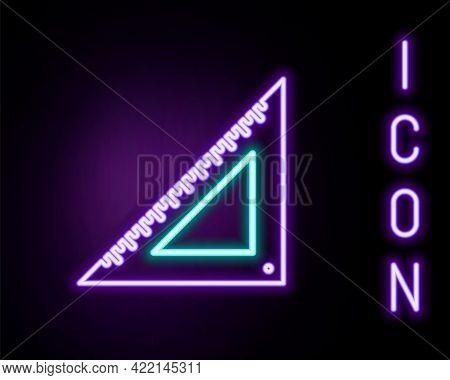 Glowing Neon Line Triangular Ruler Icon Isolated On Black Background. Straightedge Symbol. Geometric