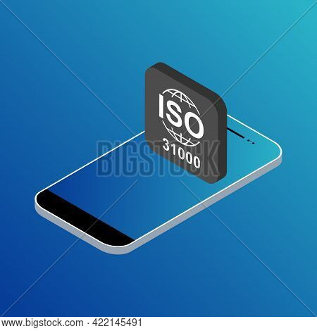 Iso 31000 Isometric Icon. Risk Management. Standard Quality Symbol. Vector Button Sign Isolated On C