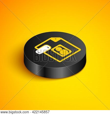 Isometric Line Wav File Document. Download Wav Button Icon Isolated On Yellow Background. Wav Wavefo