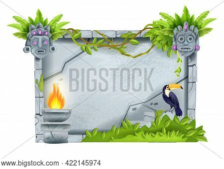 Stone Sign Board, Vector Cartoon Game Rock Tablet, Jungle Tropical Leaf, Tiki Mask, Fire, Toucan. Gr