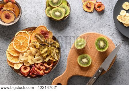 Dried And Fresh Plums, Kiwi, Peach, Plum, Orange Chips, Vegan Organic Dessert.