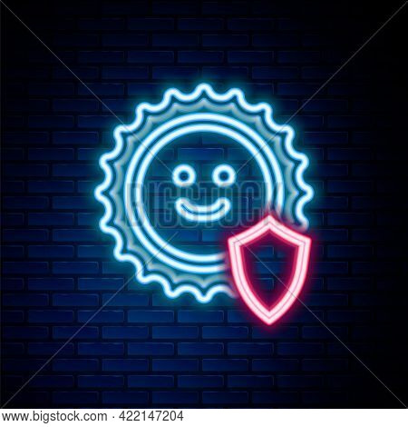 Glowing Neon Line Uv Protection Icon Isolated On Brick Wall Background. Sun And Shield. Ultra Violet