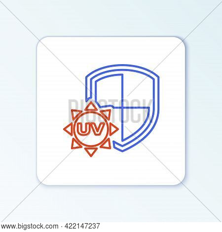 Line Uv Protection Icon Isolated On White Background. Sun And Shield. Ultra Violet Rays Radiation. S