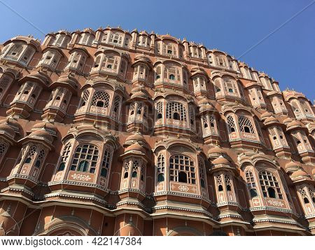 View of a spectacular 'Hawa Mahal' historic building from Rajasthan, India. 'Palace of the wind' - a famous heritage monument from Jaipur, Rajasthan.
