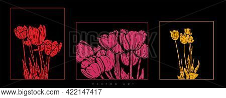 Vector Illustration Of Red, Pink And Yellow Tulips In Frames Isolated On A Black Background. Modern