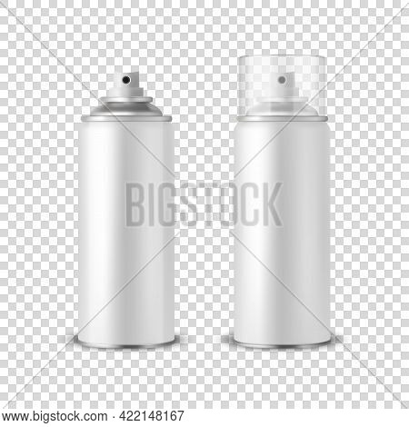 Vector 3d Realistic White Aluminum Blank Spray Can, Bottle, Transparent Lid Set Isolated. Design Tem
