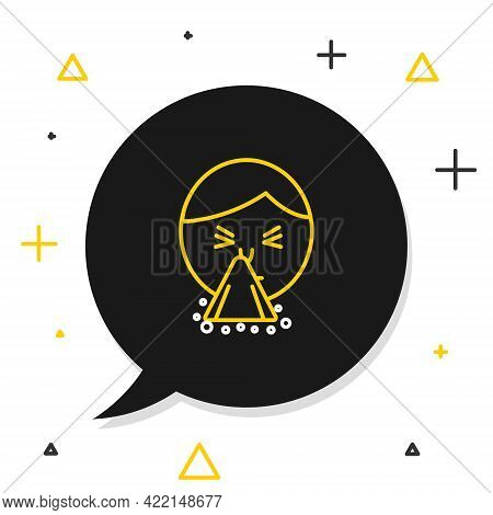 Line Man Holding Handkerchief Or Napkin To His Runny Nose Icon Isolated On White Background. Coryza