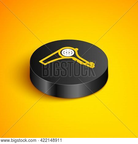 Isometric Line Hair Dryer Icon Isolated On Yellow Background. Hairdryer Sign. Hair Drying Symbol. Bl