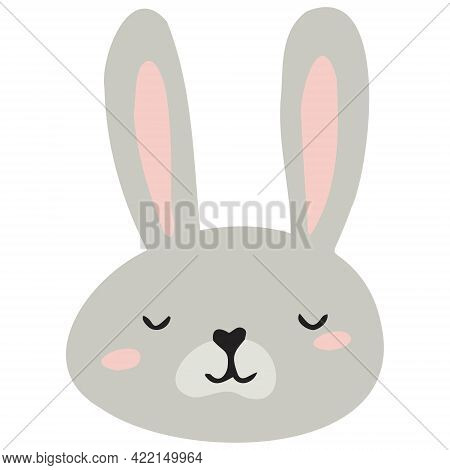 The Gray Face Of A Hare. Hare For The Design Of The Children's Room, Banners, Postcards.