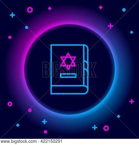 Glowing Neon Line Jewish Torah Book Icon Isolated On Black Background. On The Cover Of The Bible Is