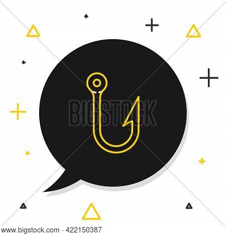 Line Fishing Hook Icon Isolated On White Background. Fishing Tackle. Colorful Outline Concept. Vecto