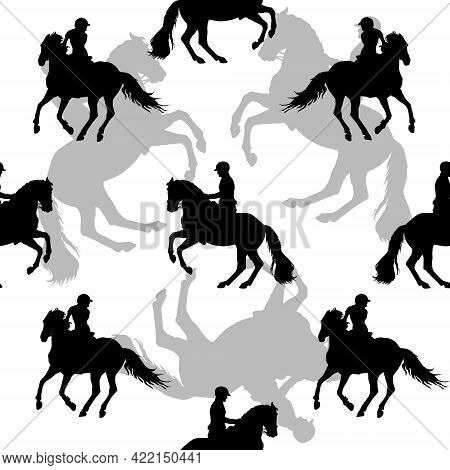 Seamless Sports Background, Equestrian Sports, Silhouettes Of Riders On White Background