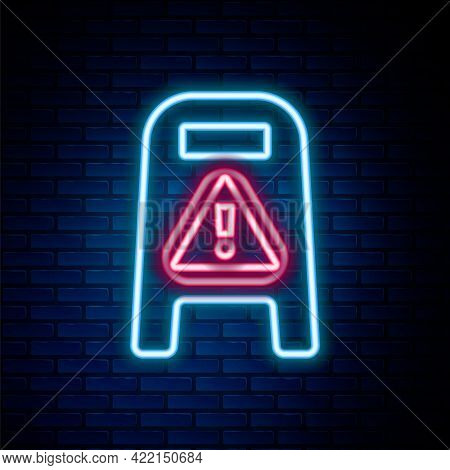 Glowing Neon Line Wet Floor And Cleaning In Progress Icon Isolated On Brick Wall Background. Cleanin