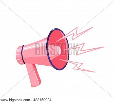 Pink Megaphone With Sound Loud Effect Isolated On White Background. Loudspeaker Vector Design Illust
