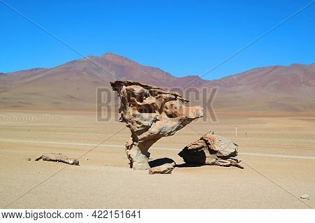 Stone Tree Called Arbol De Piedra, A Famous Rock Formation In Eduardo Avaroa Andean Fauna National R