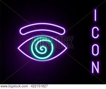 Glowing Neon Line Hypnosis Icon Isolated On Black Background. Human Eye With Spiral Hypnotic Iris. C
