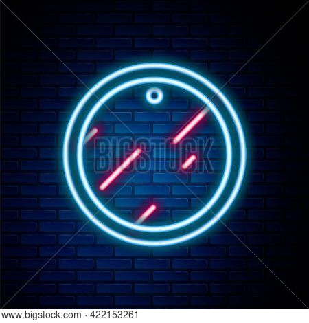 Glowing Neon Line Cutting Board Icon Isolated On Brick Wall Background. Chopping Board Symbol. Color