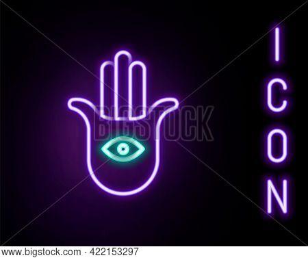 Glowing Neon Line Hamsa Hand Icon Isolated On Black Background. Hand Of Fatima - Amulet, Symbol Of P