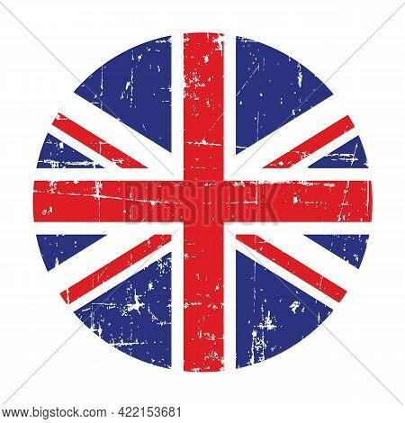 Illustration Of A Badge With Flag Of United Kingdom Of Great Britain And Northern Ireland On A White
