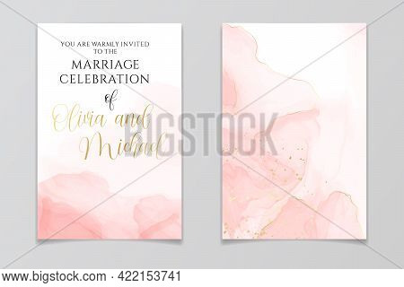 Abstract Dusty Blush Liquid Watercolor Background With Golden Crackers. Pastel Pink Marble Alcohol I