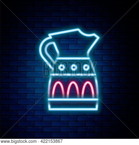 Glowing Neon Line Sangria Pitcher Icon Isolated On Brick Wall Background. Traditional Spanish Drink.