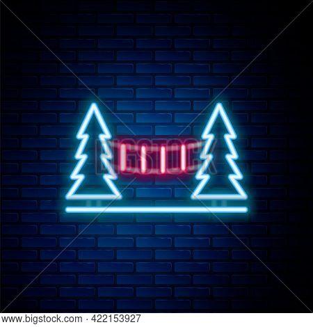 Glowing Neon Line Capilano Suspension Bridge In Vancouver, Canada Icon Isolated On Brick Wall Backgr