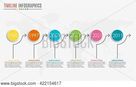 Timeline Infographics Template With 6 Circles And Arrow. 6 Steps, Options, Levels Or Processes. Busi
