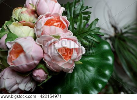Pink artificial peonies. Artificial flowers for weddings and interiors.