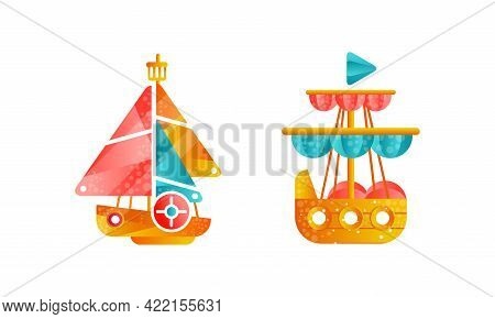 Set Of Sailing Ships With White And Red Sails, Ocean Or Marine Transport Flat Vector Illustration