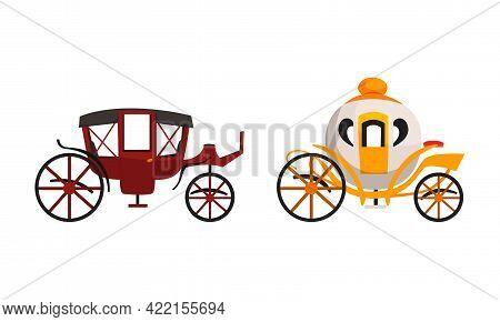 Fairy Brougham Set, Wedding Or Royal Vintage Carriage Flat Vector Illustration