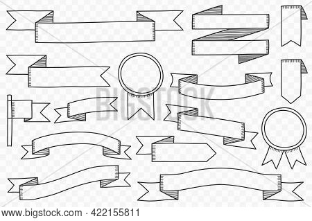 Set Of Hand Drawn Ribbon Banners On Transparent Background, Vector Eps10 Illustration