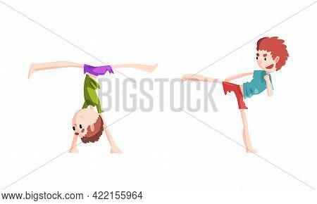 Cute Boys Practicing Capoeira Set, Kid Doing Martial Art Elements Cartoon Vector Illustration