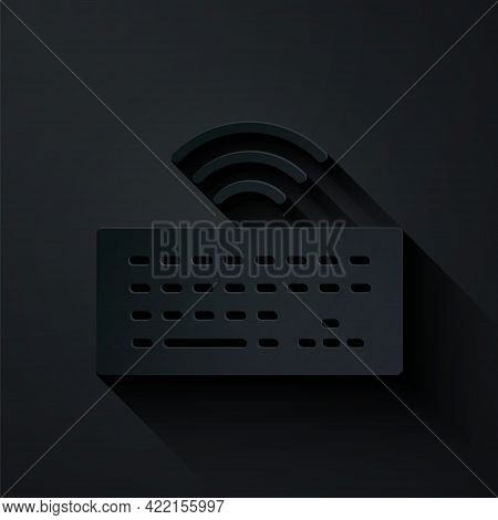 Paper Cut Wireless Computer Keyboard Icon Isolated On Black Background. Pc Component Sign. Internet