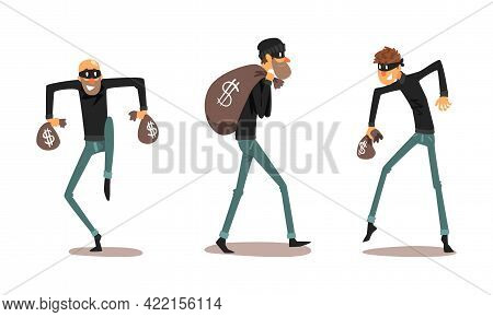 Robber Characters Set, Male Thieves Dressed Black Clothing In Masks Stealing Money Cartoon Vector Il
