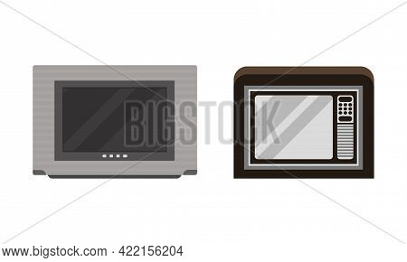 Retro Television Set, Analogue Obsolete Tv Flat Vector Illustration