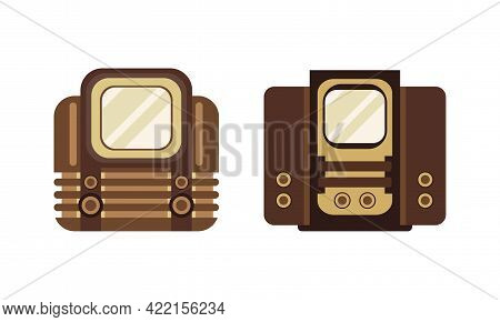 Ancient Television Set, Analogue Old Obsolete Tv Flat Vector Illustration